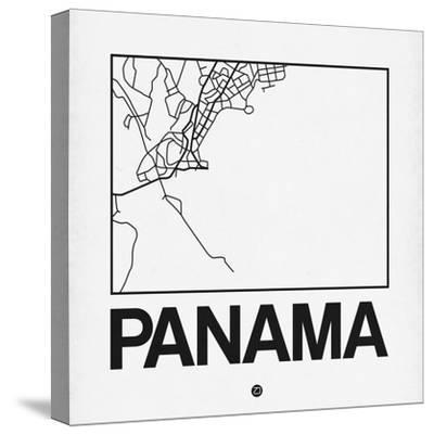 White Map of Panama-NaxArt-Stretched Canvas Print