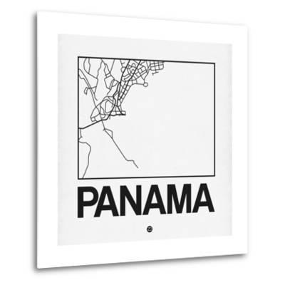 White Map of Panama-NaxArt-Metal Print