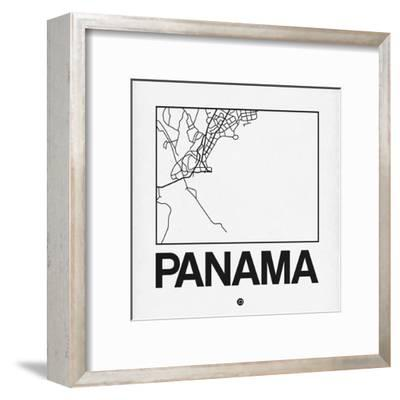 White Map of Panama-NaxArt-Framed Art Print