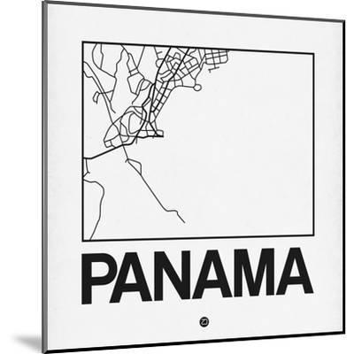White Map of Panama-NaxArt-Mounted Art Print