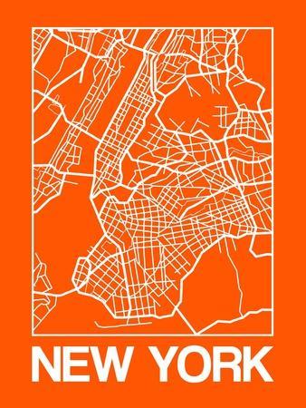 Orange Map of New York-NaxArt-Framed Premium Giclee Print