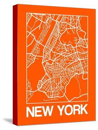 Orange Map of New York-NaxArt-Stretched Canvas Print