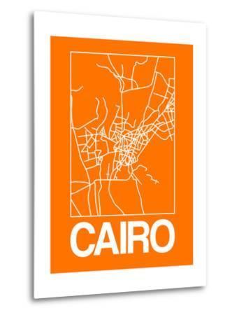 Orange Map of Cairo-NaxArt-Metal Print