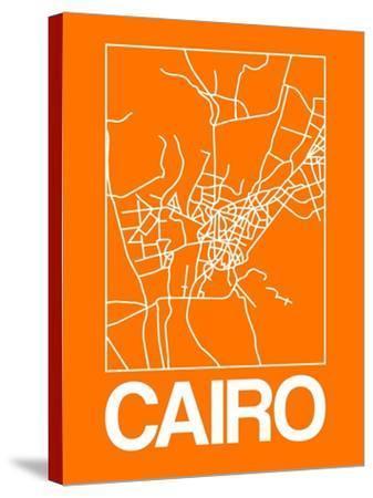 Orange Map of Cairo-NaxArt-Stretched Canvas Print