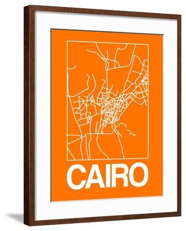 Orange Map of Cairo-NaxArt-Framed Art Print