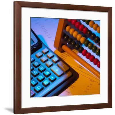 Abacus And Calculator-Mark Sykes-Framed Photographic Print