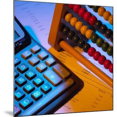 Abacus And Calculator-Mark Sykes-Mounted Photographic Print