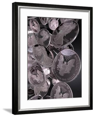 Silver Coins, Computer Artwork--Framed Photographic Print