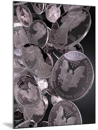 Silver Coins, Computer Artwork--Mounted Photographic Print