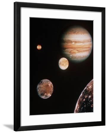 Voyager Mosaic of Jupiter & Its 4 Galilean Moons--Framed Photographic Print