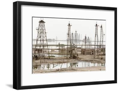 Caspian Sea Oil Rigs-Ria Novosti-Framed Photographic Print