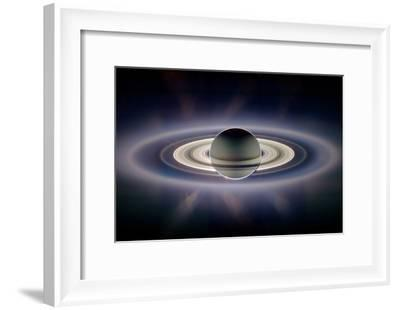 Saturn Silhouetted, Cassini Image--Framed Photographic Print