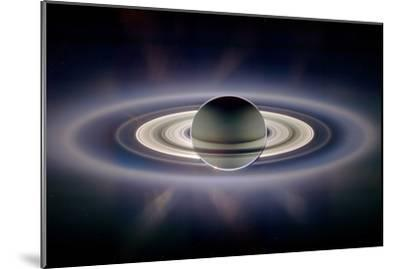 Saturn Silhouetted, Cassini Image--Mounted Photographic Print