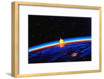 Sunrise In Space' by Leonov-Ria Novosti-Framed Photographic Print
