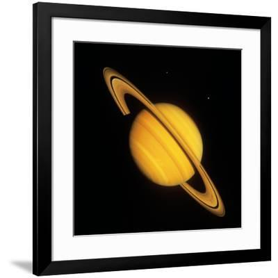 Saturn with Two Moon--Framed Photographic Print