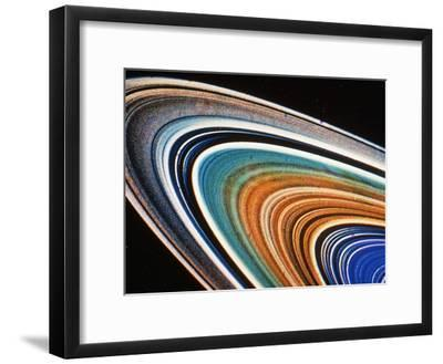 Voyager 2 Photograph of Saturn's Rings--Framed Photographic Print