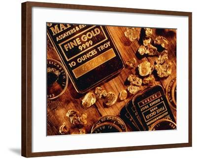 Nuggets, Bars And Coins Made of Gold-David Nunuk-Framed Photographic Print