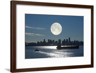 Full Moon Over Vancouver-David Nunuk-Framed Photographic Print