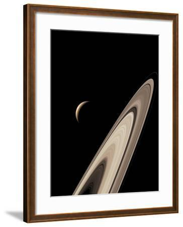 Titan's Lakes And Saturn's Rings-David Parker-Framed Photographic Print