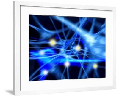 Nerve Cells, Computer Artwork-PASIEKA-Framed Photographic Print