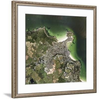 St Ives, Cornwall, UK, Satellite Image-Getmapping Plc-Framed Photographic Print