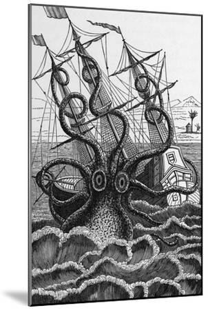 Octopus Attacking a Ship-Middle Temple Library-Mounted Photographic Print