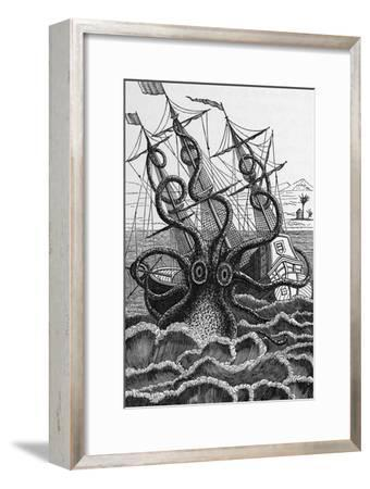 Octopus Attacking a Ship-Middle Temple Library-Framed Photographic Print