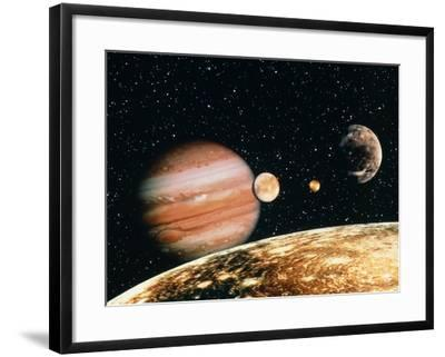 Jupiter And the Galilean Moons Seen From Callisto-Science Photo Library-Framed Photographic Print