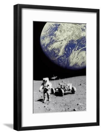 Astronaut on Moon with Earth-Science Photo Library-Framed Photographic Print
