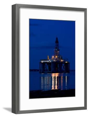 Oil Drilling Rig At Night, North Sea-Duncan Shaw-Framed Photographic Print