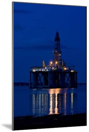 Oil Drilling Rig At Night, North Sea-Duncan Shaw-Mounted Photographic Print