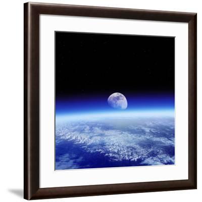 Moon Rising Over Earth's Horizon-Detlev Van Ravenswaay-Framed Photographic Print