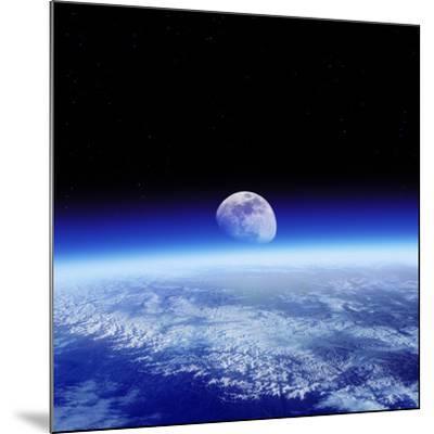 Moon Rising Over Earth's Horizon-Detlev Van Ravenswaay-Mounted Photographic Print