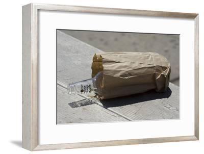 Discarded Rum Bottle In Paper Bag-Mark Williamson-Framed Photographic Print