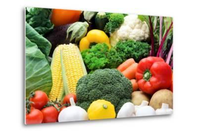 Close up of Fresh Raw Organic Vegetable Produce, Assortment of Corn, Peppers, Broccoli, Mushrooms,-warrengoldswain-Metal Print
