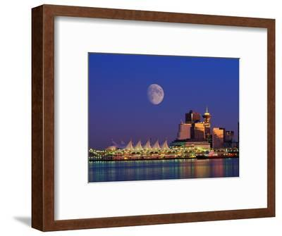 Moon Over Vancouver and Coal Harbor-Ron Watts-Framed Photographic Print