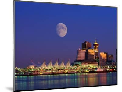 Moon Over Vancouver and Coal Harbor-Ron Watts-Mounted Photographic Print