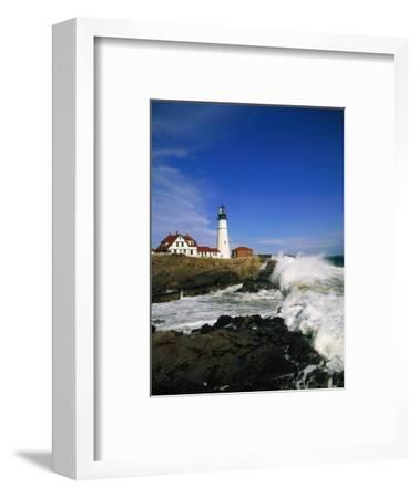 Lighthouse on Coastline-Cody Wood-Framed Photographic Print