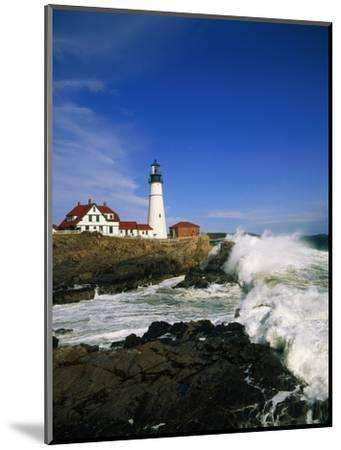 Lighthouse on Coastline-Cody Wood-Mounted Photographic Print