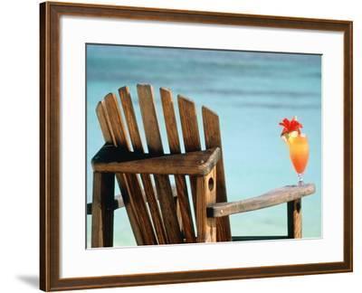 Seychelles, Denis Island, beach chair and fruit cocktail-Sergio Pitamitz-Framed Photographic Print