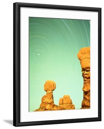 USA, Utah, Arches National Park and star trails-Frank Lukasseck-Framed Photographic Print