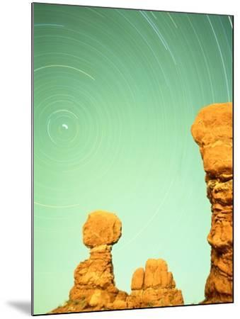 USA, Utah, Arches National Park and star trails-Frank Lukasseck-Mounted Photographic Print