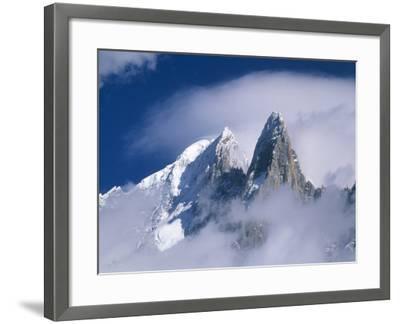 France, Alps, Mont Blanc Massif, Aiguille Verte, peak in clouds-Frank Lukasseck-Framed Photographic Print