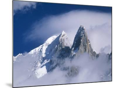 France, Alps, Mont Blanc Massif, Aiguille Verte, peak in clouds-Frank Lukasseck-Mounted Photographic Print