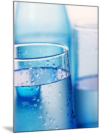 Bottle and glasses of water--Mounted Photographic Print
