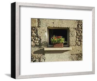 Red Geraniums on a window sill--Framed Photographic Print