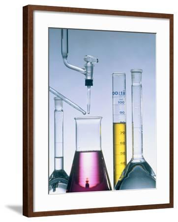 Different flasks with fluids-Paul Steeger-Framed Photographic Print