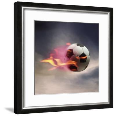 Flaming Soccer Ball--Framed Photographic Print