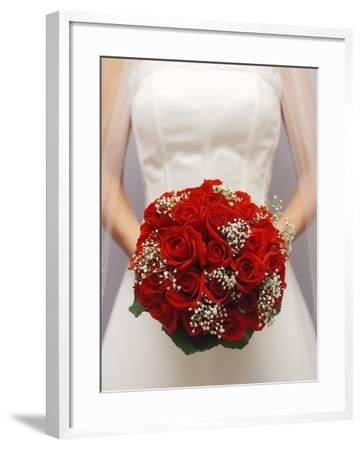 Bride with bridal bouquet--Framed Photographic Print