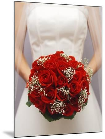 Bride with bridal bouquet--Mounted Photographic Print
